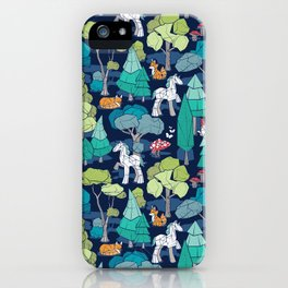 Geometric whimsical wonderland // navy blue background green forest with unicorns foxes gnomes and mushrooms iPhone Case