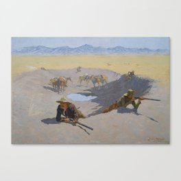 Frederic Remington - Fight for the Waterhole Canvas Print