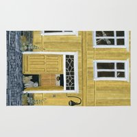 building Area & Throw Rugs featuring Yellow building by Yuliya