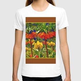 COFFEE BROWN YELLOW & ORANGE CROWN IMPERIALS GARDEN T-shirt