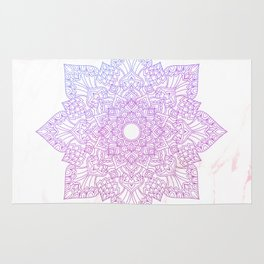 Violet pink flower mandala - marble Rug