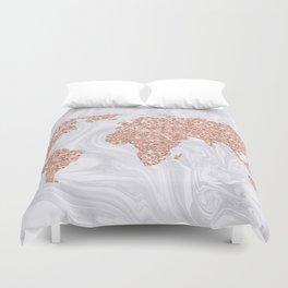Rose Gold Glitter World Map on White Marble Duvet Cover
