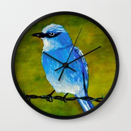 Blue Bird on Barbed Wire Wall Clock