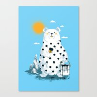 polka Canvas Prints featuring polka bear by Steven Toang