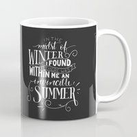 camus Mugs featuring Albert Camus - In the Midst of Winter by Amber Serene