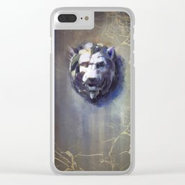 Lion head Black Marble Clear iPhone Case