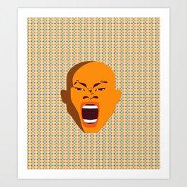 orange color male head screaming face pattern digital art zolliophone Art Print