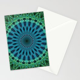 Mandala with green and light blue ornaments Stationery Cards