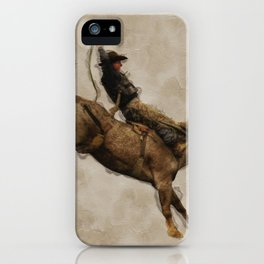 Western-style Bucking Bronco Cowboy iPhone Case