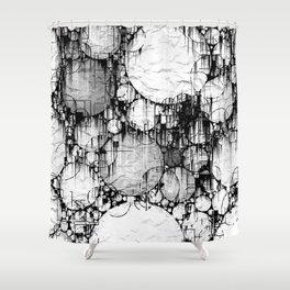 Glitch Black & White Circle abstract Shower Curtain
