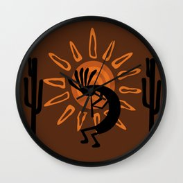 Rustic Brown Kokopelli Wall Clock