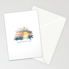 Sailing Yacht Club Blue Words Color Stationery Cards