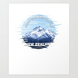 Hikers Camping Traveling Mountaineering Mount Cook National Park New Zealand Gift Art Print