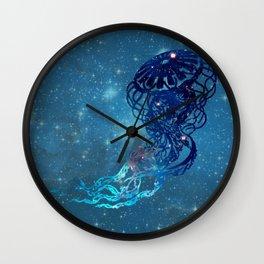 Blue Galactic Jelly Fish Wall Clock