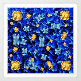 SEPTEMBER BLUE & CHAMPAGNE TOPAZ GEMS BIRTHSTONE ART Art Print