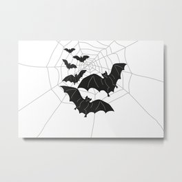 Black Bats with Spider Web Halloween Metal Print