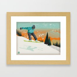 Snowboard Jump Framed Art Print