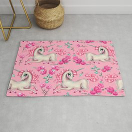 Unicorns and Roses on Pink Rug