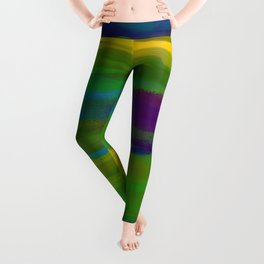 Green Mardi Gras Abstract Leggings