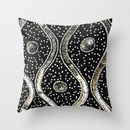 Silver Sequins and Beads Throw Pillow