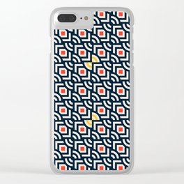 Round Pegs Square Pegs Navy Blue Clear iPhone Case