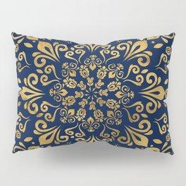 Oriental Damask Ornament - Gold on dark blue #3 Pillow Sham