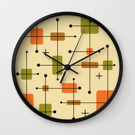 Rounded Rectangles Squares Earth Tones 1 Wall Clock