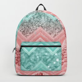 Summer Vibes Glitter Chevron #1 #coral #mint #shiny #decor #art #society6 Backpack