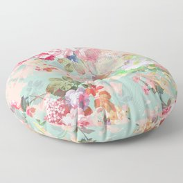 Botanical neo mint pink abstract watercolor floral pattern Floor Pillow