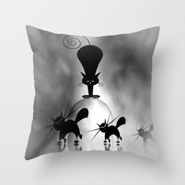 dreaming of mooncats bw -1- Throw Pillow