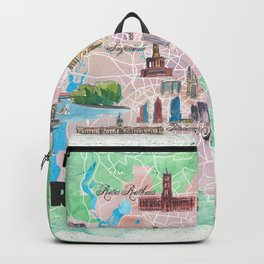 Berlin Germany Illustrated Map with Main Roads Landmarks and Highlights Backpack