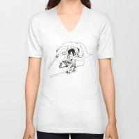 levi V-neck T-shirts featuring Levi Ackerman: Humanities Strongest by Reira Hoshikuzu