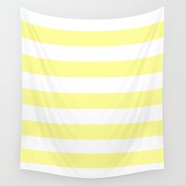 Pastel yellow - solid color - white stripes pattern Wall Tapestry