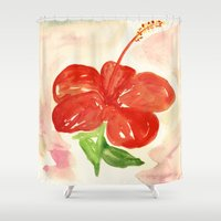 hibiscus Shower Curtains featuring Hibiscus by ladyberula