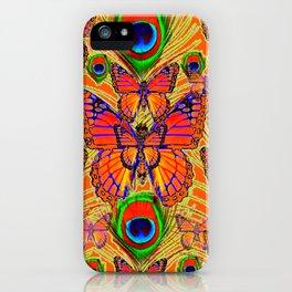 Mardarin orange & green peacock eyes art iPhone Case