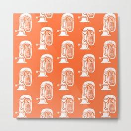 Tuba Pattern Orange Metal Print