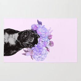 Bulldog with Flowers Crown Rug