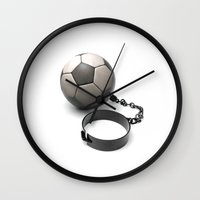 soccer Wall Clocks featuring Soccer Prisoner by HenryWine