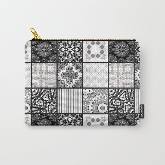 Patchwork . Squares of black, gray Patterns . Carry-All Pouch