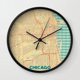 Chicago Map Retro Wall Clock