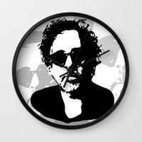 tim shumate Wall Clocks featuring Tim by b & c