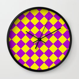 Plaid in crimson and yellow colours . Cell . Wall Clock