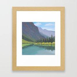 Bertha Lake, Waterton Acrylic Painting Framed Art Print