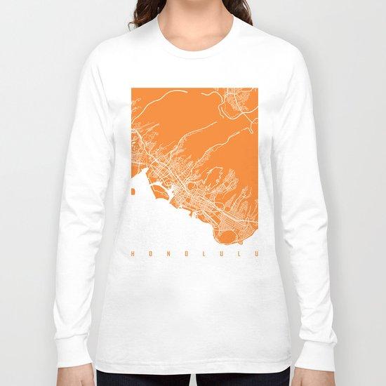 Honolulu map orange Long Sleeve T-shirt