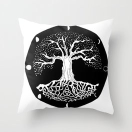 black and white tree of life with moon phases and celtic trinity knot Throw Pillow