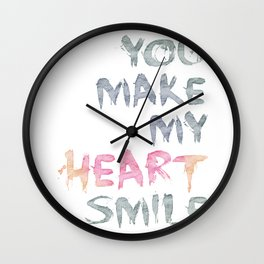 You make my heart smile ink lettering Wall Clock