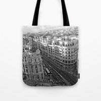 madrid Tote Bags featuring Madrid by Cristina Serrano