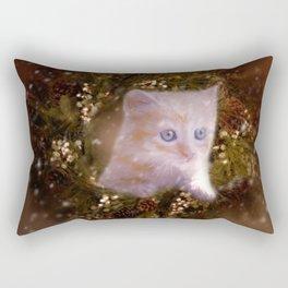 Christmas kitten watching the snow Rectangular Pillow