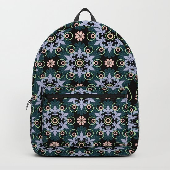 Abstract Oriental pattern on a black background. Backpack