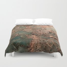 Marble Emerald Copper Blue Green Duvet Cover